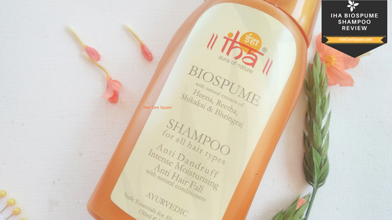 IHA Biospume Anti hairfall and anti dandruff shampoo with natural extracts of henna, shikakai, reetha and bhringraj review